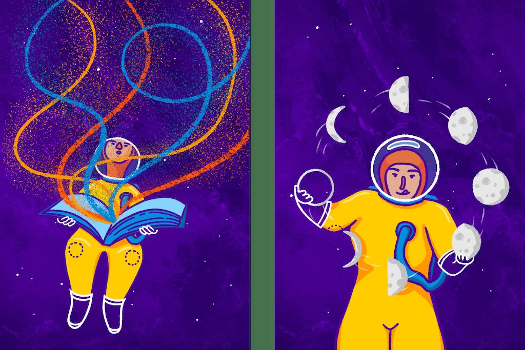illustraties van het jongleren en visuele verhalen vertellen voor de zine voor zelf promotie van andra