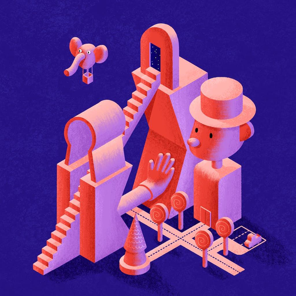 isometrische afbeelding van een carnaval fantasie wereld
