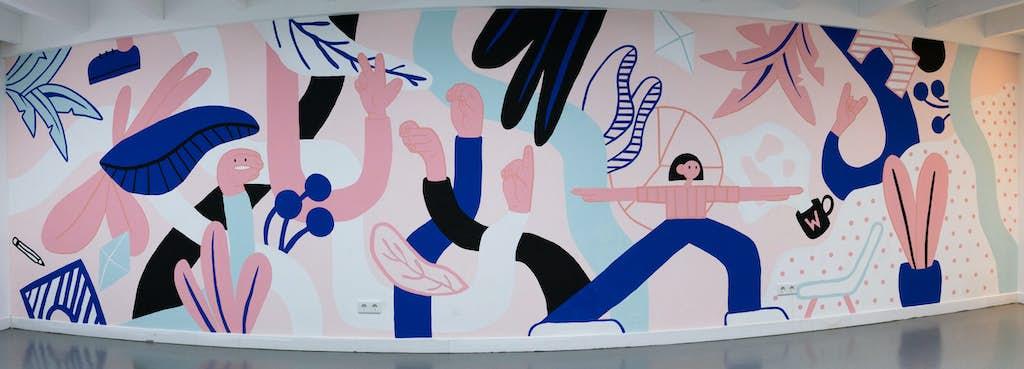 Muurschildering compleet van voren door stutpak voor wordlenig