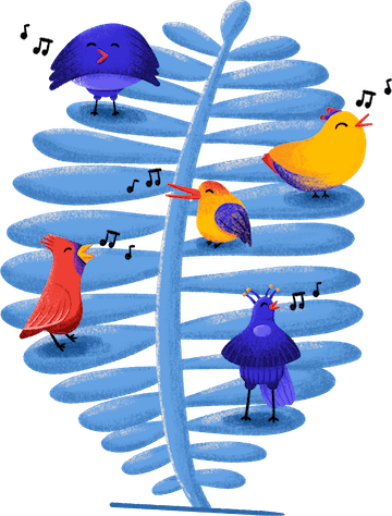 working together illustration tropical birds stutpak