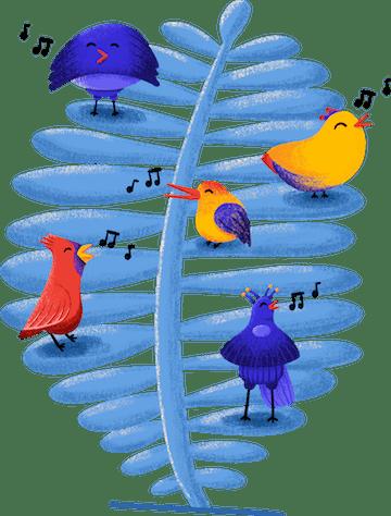 samenwerken illustraties met tropische vogels en chuck van stutpak