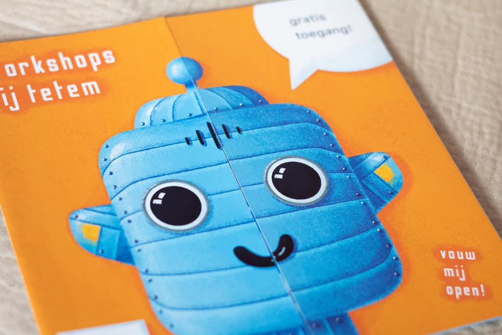 front printed robot flyer