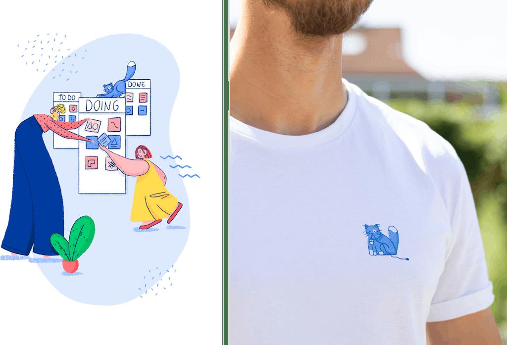 samenwerken illustratie en shirt ontwerp trendwerk