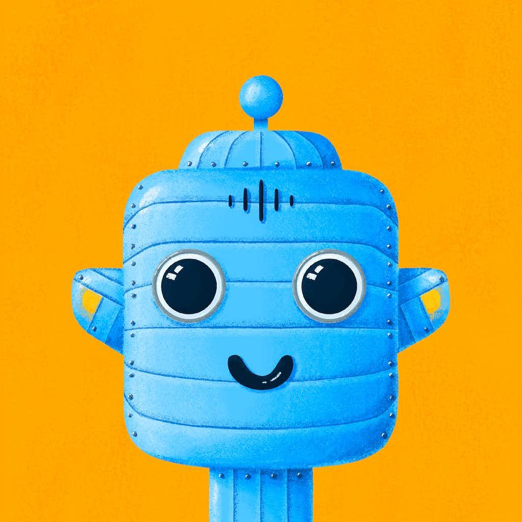 robot uitvergroot van uitvouwbare flyer
