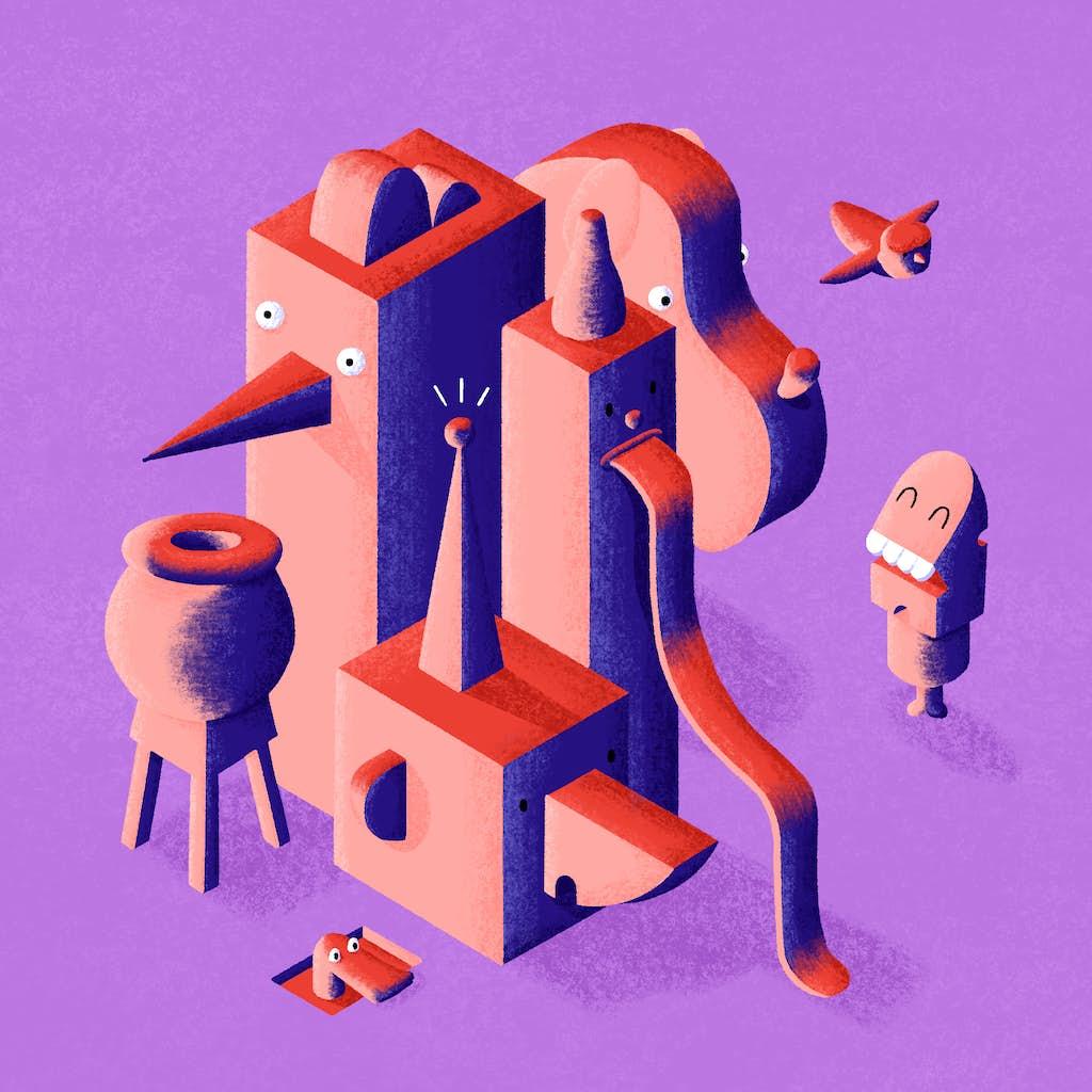 isometrische afbeelding van fantasie wezens