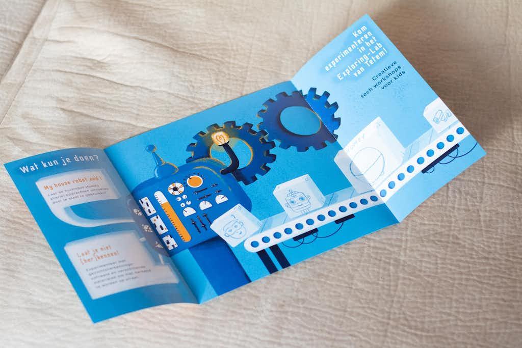inside printed robot flyer