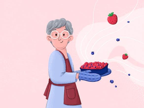 uitgelichte afbeelding van een oma die een taart heeft gebakken