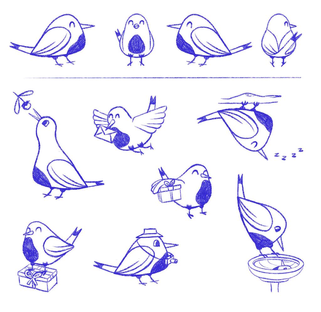 poses luckybird sketches mascot