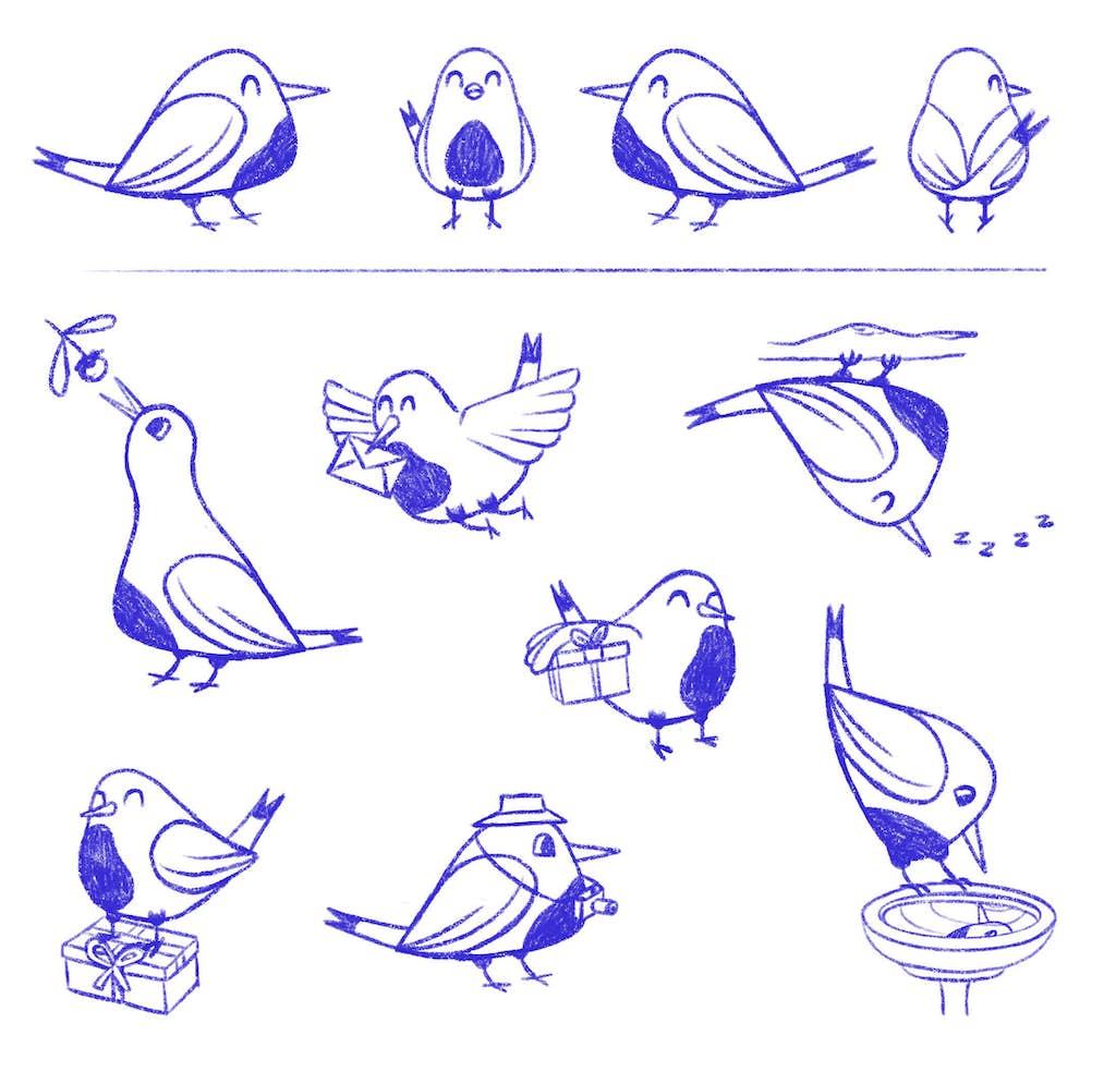 posities luckybird schetsen mascotte