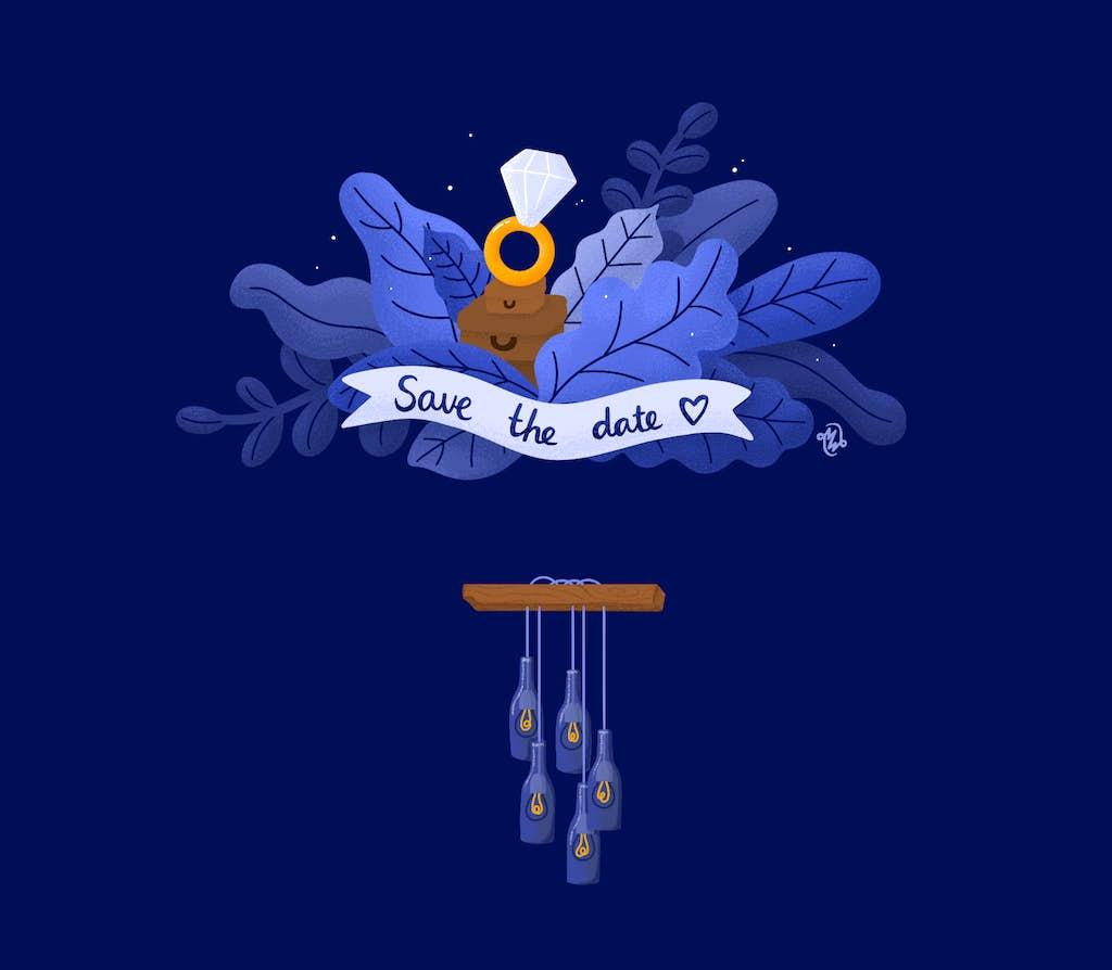save the date illustratie met hangende lampen