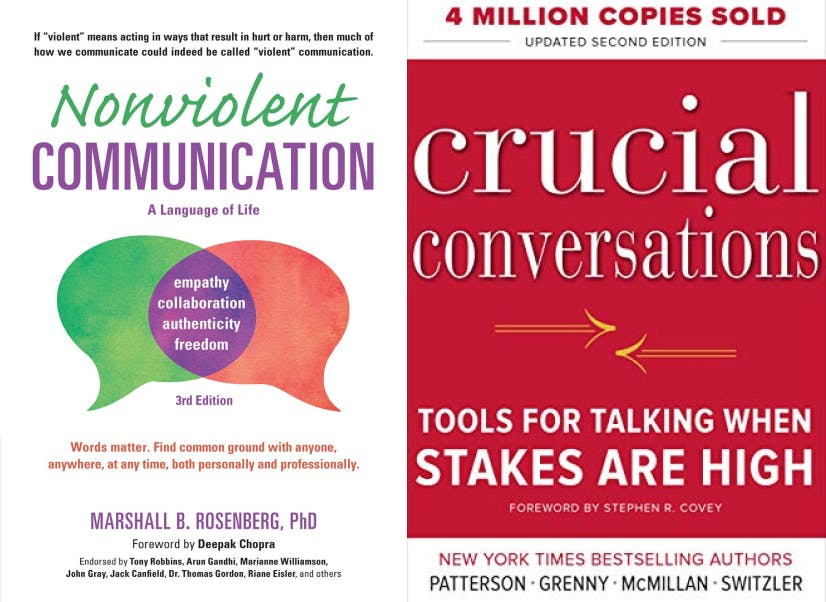 Nonviolent Communication: A Language of Life, by Marshall B. Rosenberg & Crucial Conversations: Tools for Talking When Stakes.