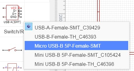 Micro USB-B 5P-Female-SMT in EasyEDA.