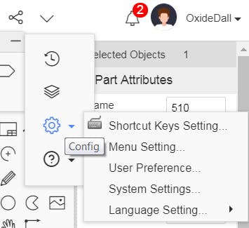 Config — Shortcut Keys Settings menu in EasyEda.