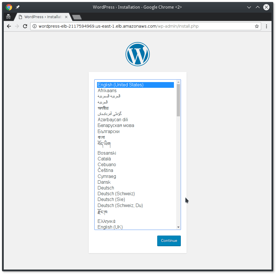 WP Installation Using Web Wizard.
