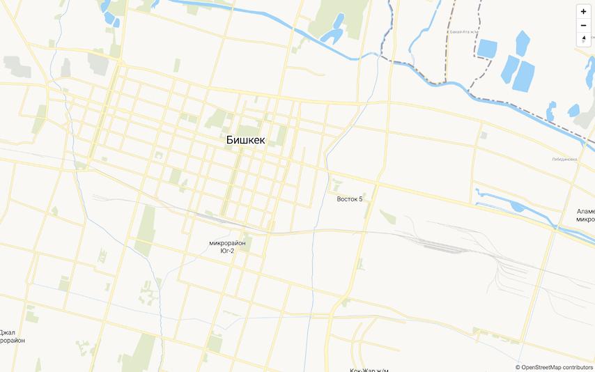 Bishkek City Map with Open Source Geocoder.