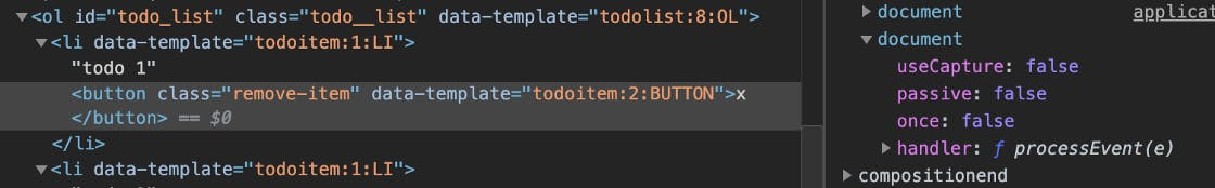 We Look at the Event Handlers for the Click Event of a Button To Remove a Todo From the List.