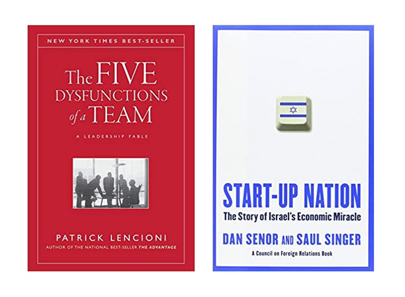 The Five Dysfunctions of a Team and The Startup Nation: The Story of Israel's Economic Miracle.