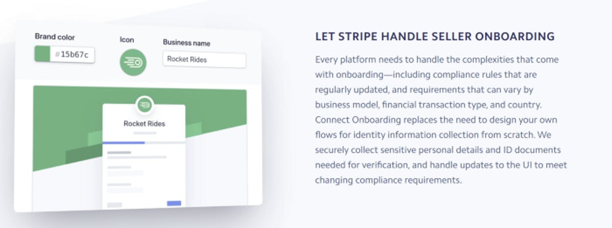 Stripe Connect Onboarding Options.