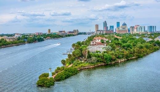 Bild på en halvö i Tampa med hus, palmer, vattnet och höghus i bakgrunden.