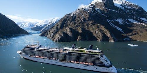 Foto på Celebrity Solstice som uppenbarar sig förgrunden med snötäckta berg i bakgrunden.