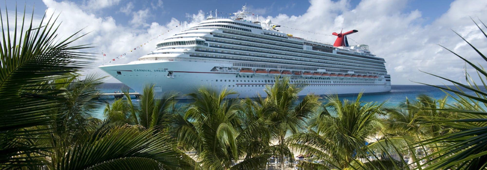 Bild på fartyget Carnival Dream. I förgrunden syns en sandstrand med solsängar och flera gröna palmer.