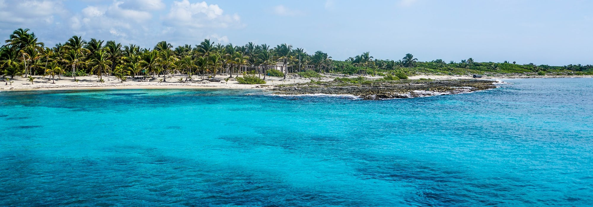 Vacker natur med ljusblått vatten och palmer på en strand i bakgrunden.
