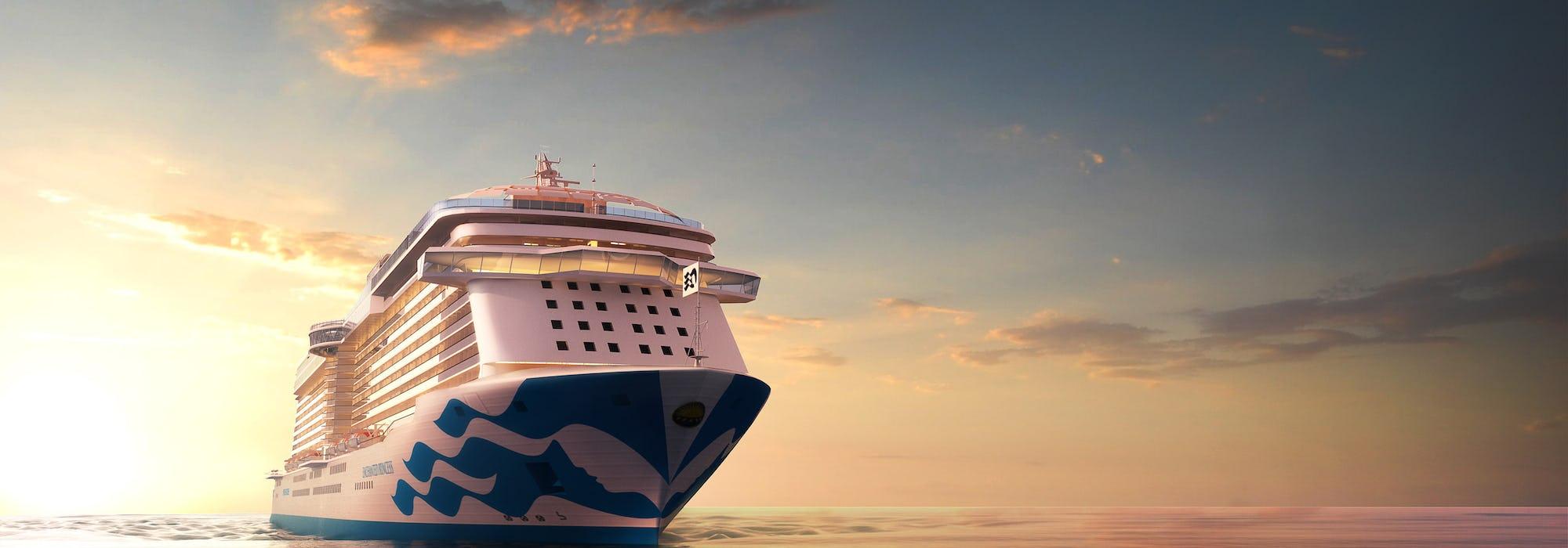 Bild framifrån i solnedgången på Princess Cruises fartyg Enchanted Princess.