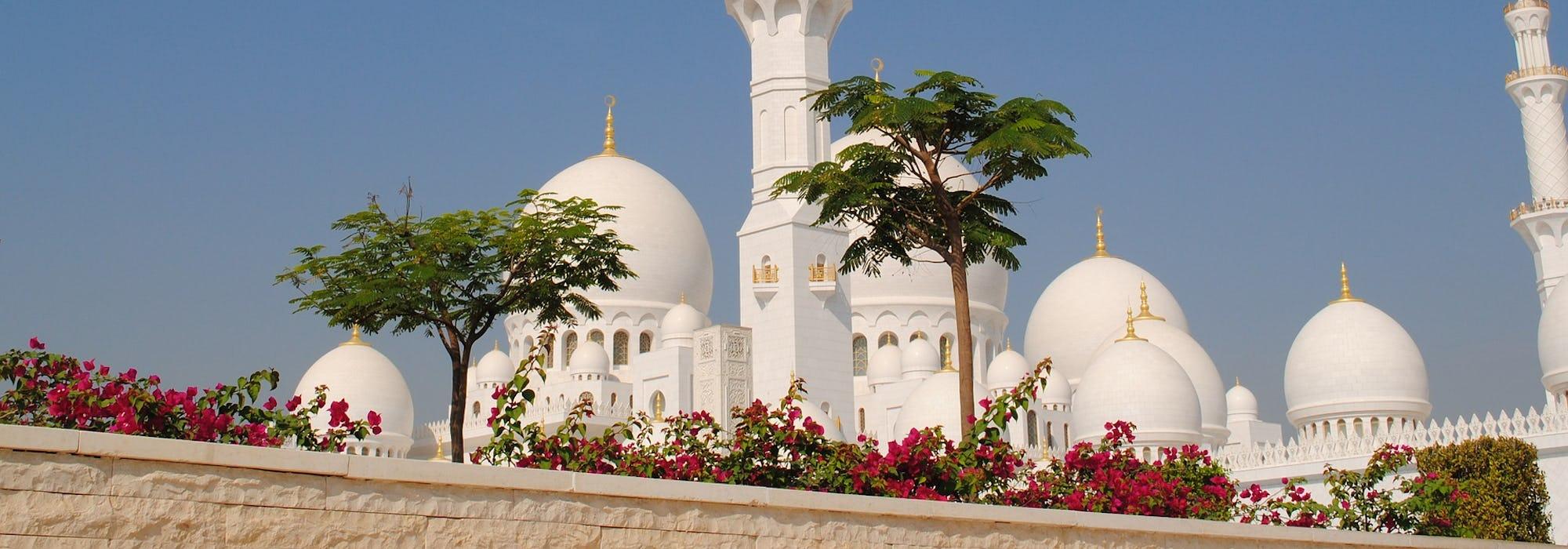 Vit, guldsmyckad, moské tornar upp sig bakom en stenmur med träd och röda växter.