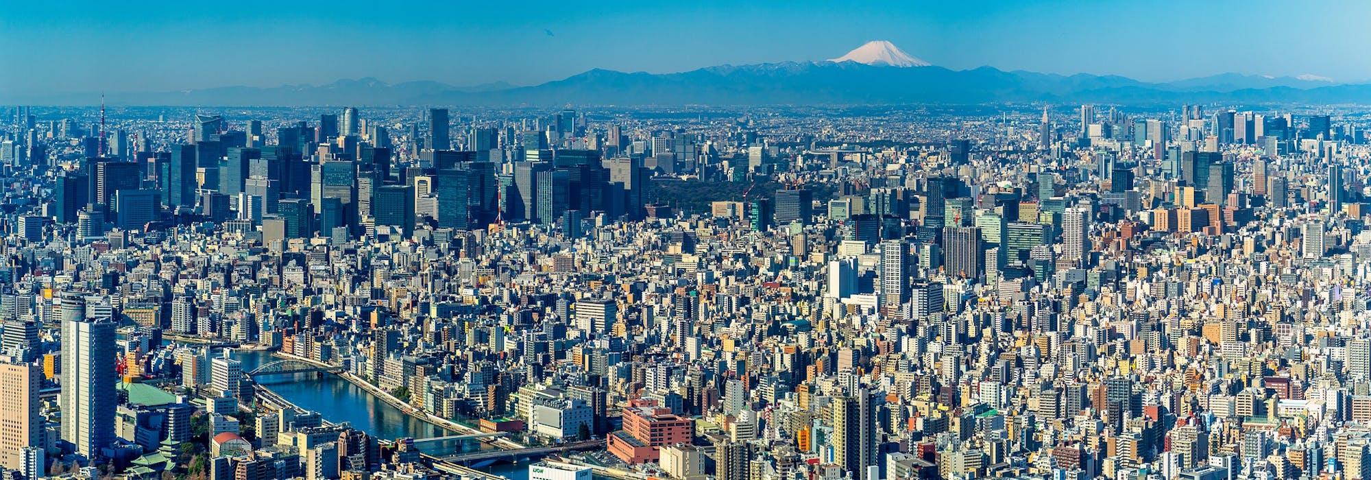 Översiktsbild tagen på Tokyo med mängder av höga byggnader och berget Fuji i bakgrunden.