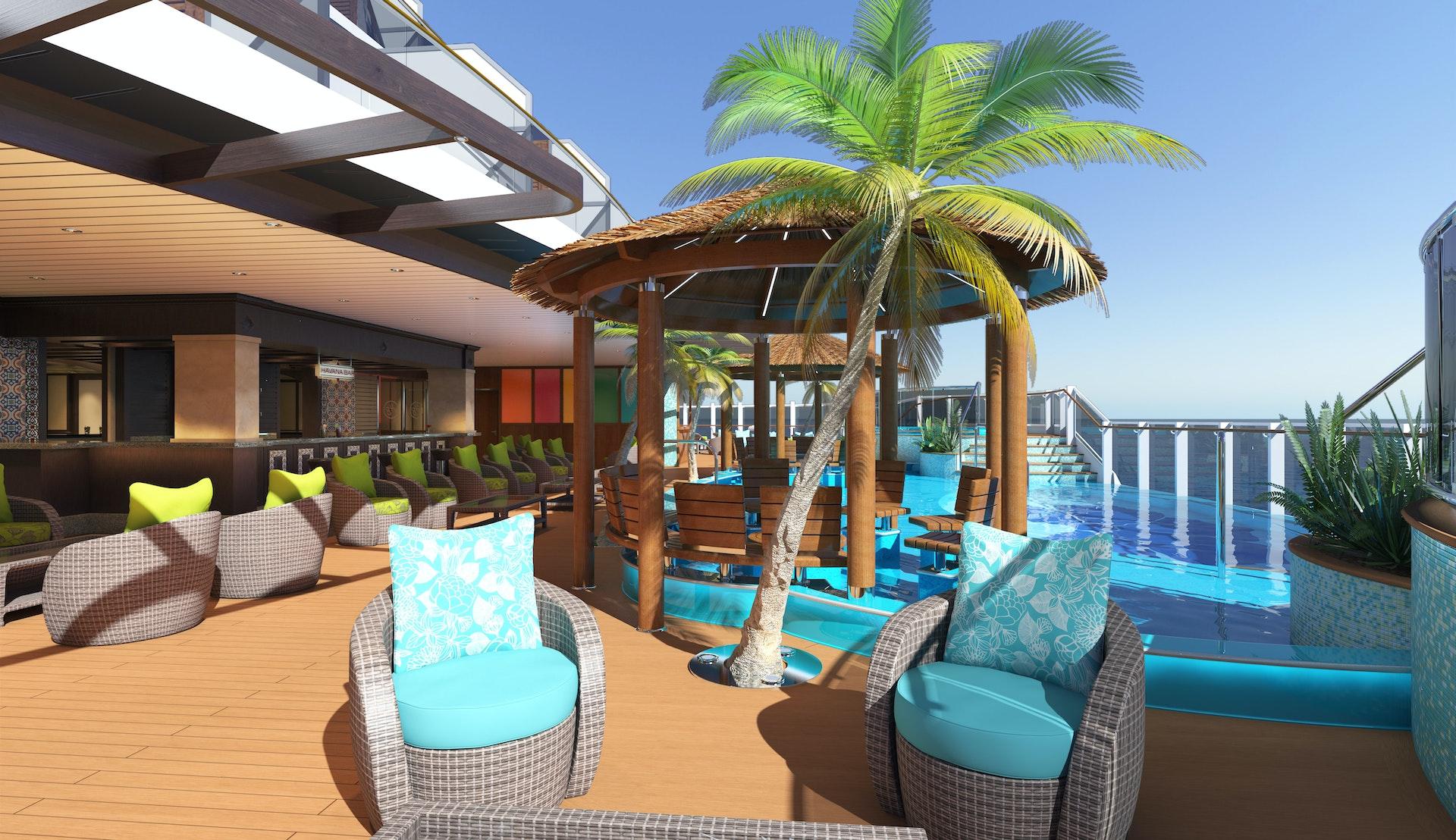 Bild på fartyget Carnival Horizon's pooldäck med palm, solstolar och en pool.