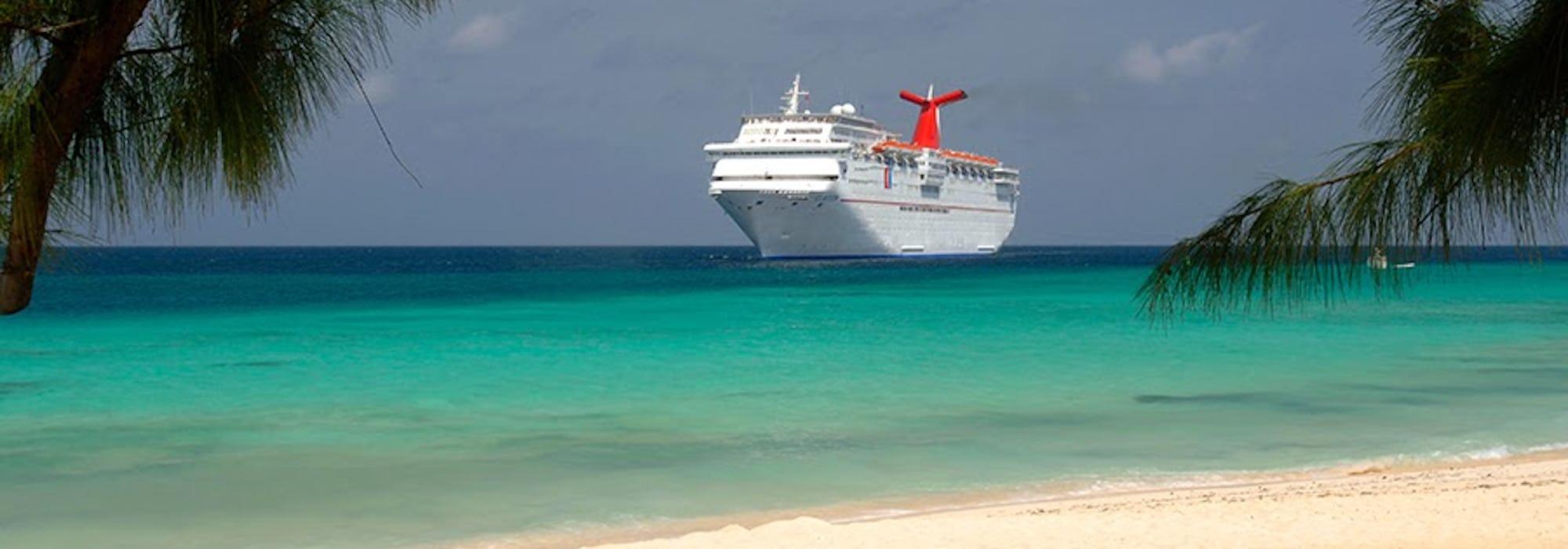 Bild tagen från stranden, mellan två gröna träd på fartyget Carnival Elation som kryssar fram i ljusgrönt vatten.