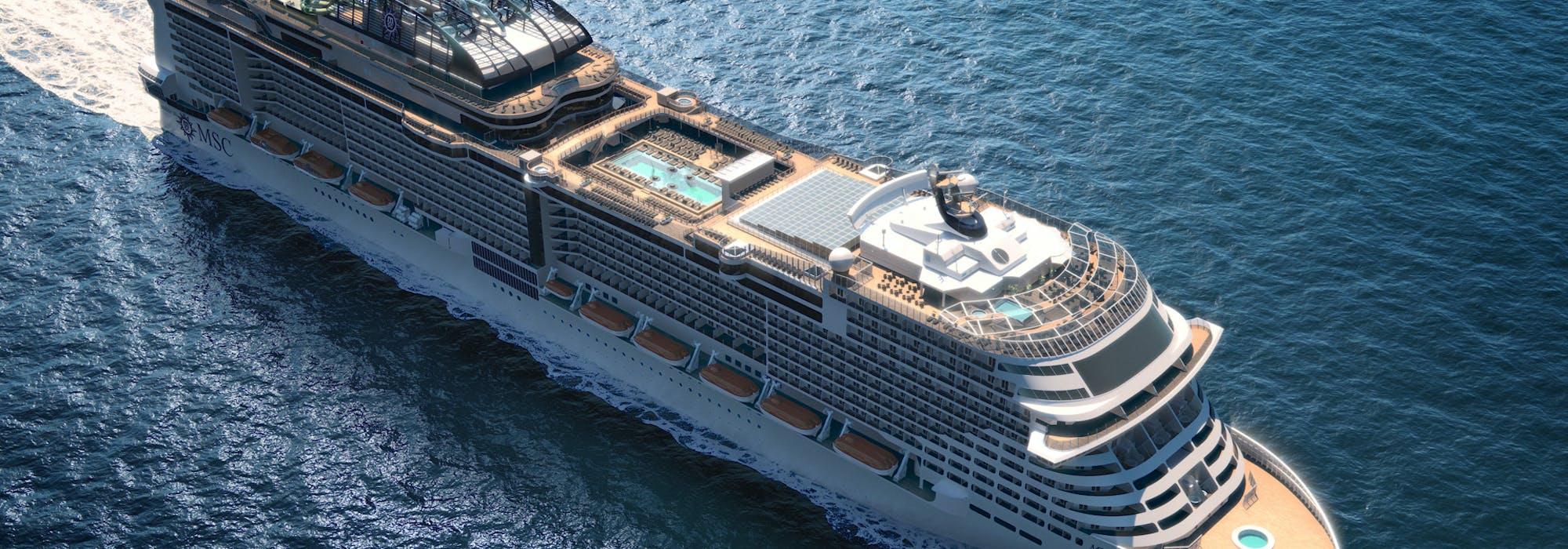 Bild snett ovanifrån på MSC Cruises nyaste fartyg MSC Grandiosa.