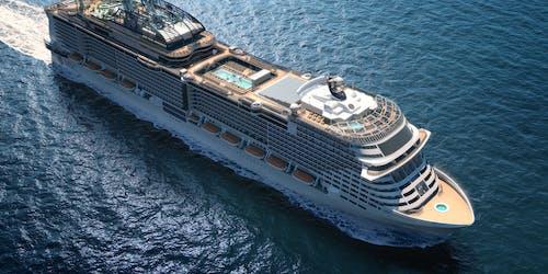 Bild snett ovanifrån på MSC Cruises nyste fartyg MSC Grandiosa.