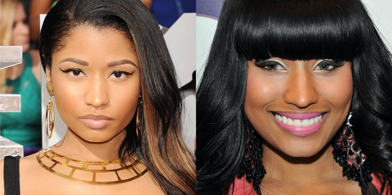 Nicki Minaj wearing blue coloured lenses