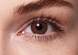 Blue eyes after wearing SWATI Bronze - Dark Brown Coloured lenses