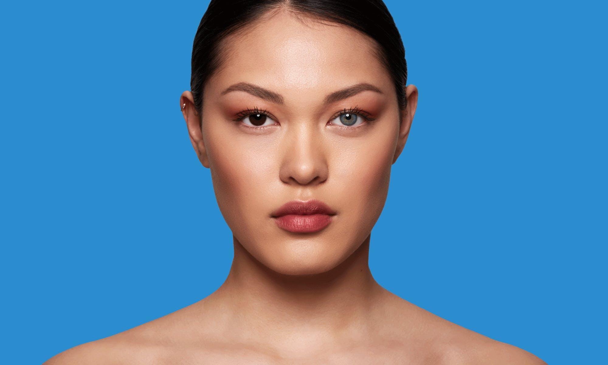 How do SWATI Blue Coloured Sapphire lenses look on dark brown eyes?