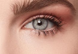 Topaz/Grey/Blue eyes after wearing SWATI Turquoise - Blue Green Coloured lenses