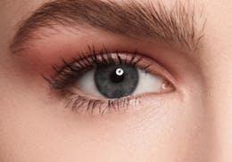 Topaz/Grey/Blue eyes before wearing SWATI Turquoise - Blue Green Coloured lenses