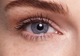 Blue eyes before wearing SWATI Bronze - Dark Brown Coloured lenses