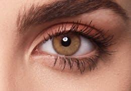 Brown eyes after wearing SWATI Honey - Hazel Brown Coloured lenses