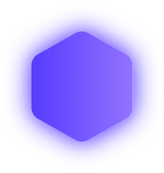 Purple hexagon badge