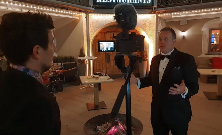 Alex Fazel and Ron Garan at Davos