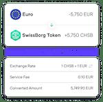 Exchange receipt in eur