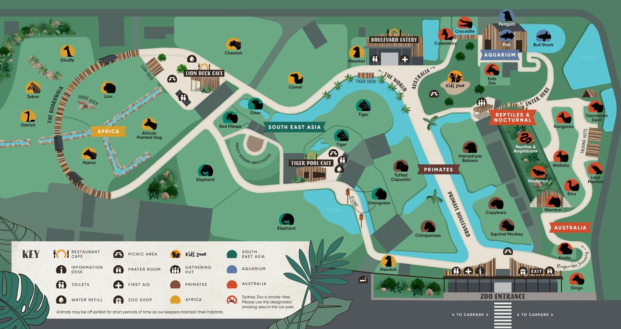 Sydney Zoo Sydney Zoo Map