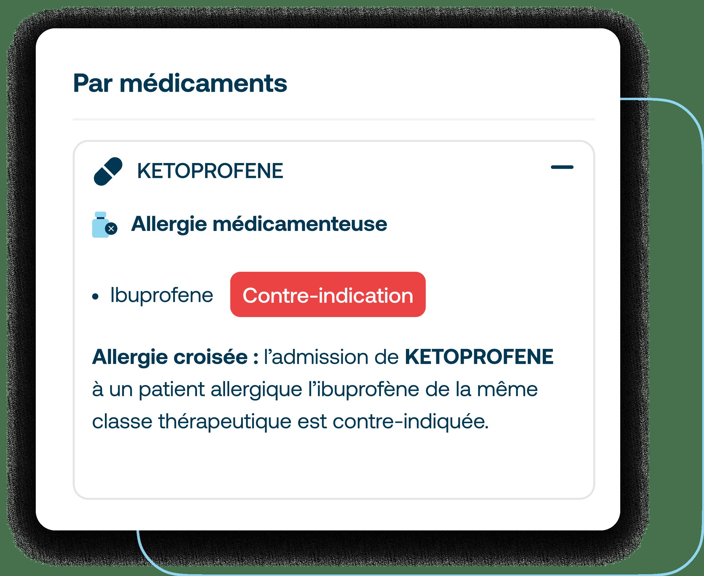 Allergies médicamenteuses disponibles dans l'analyse d'ordonnance