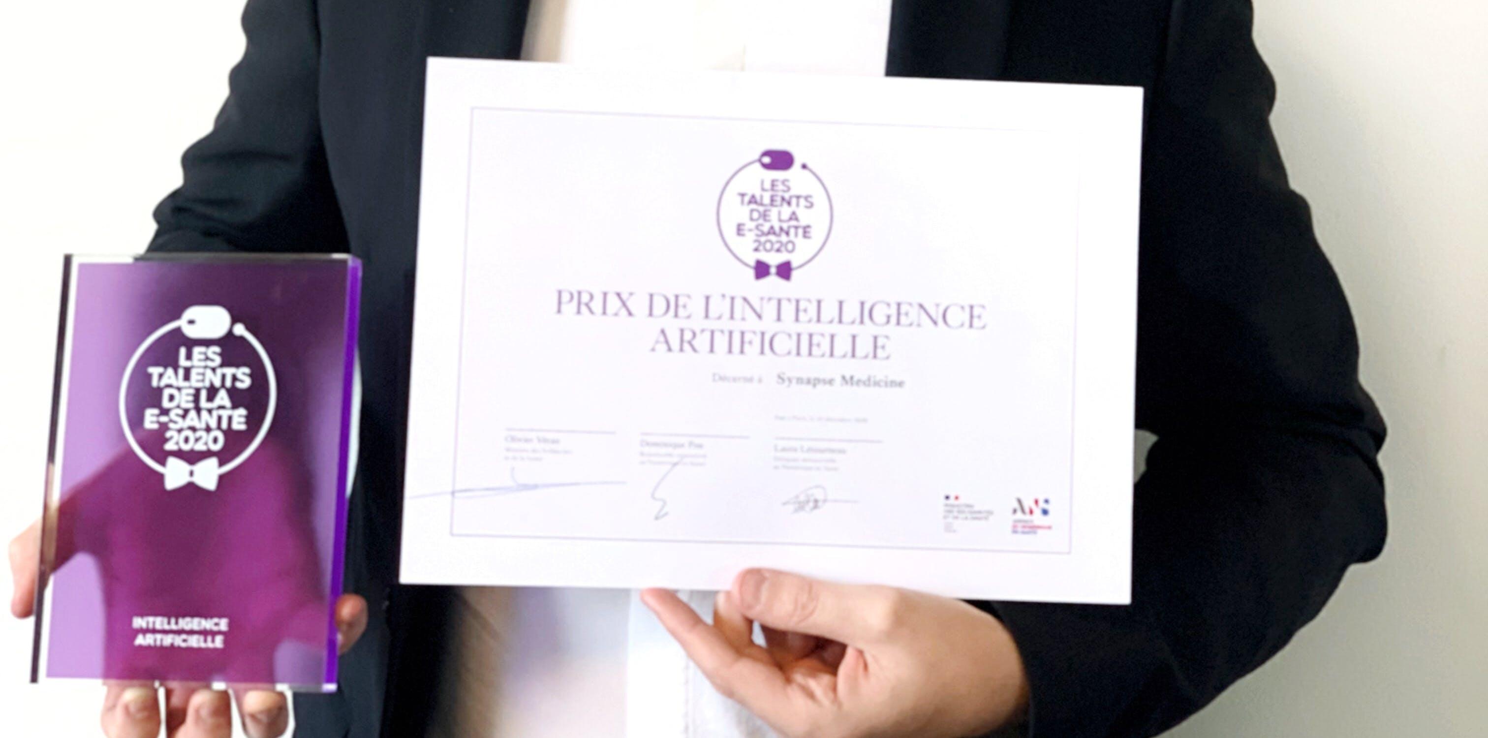 Prix de l'Intelligence Artificielle du concours Talents de la e-santé décerné à Synapse Medicine