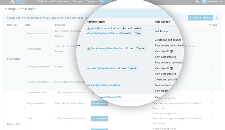 Configurable administrator roles for your SysCloud account
