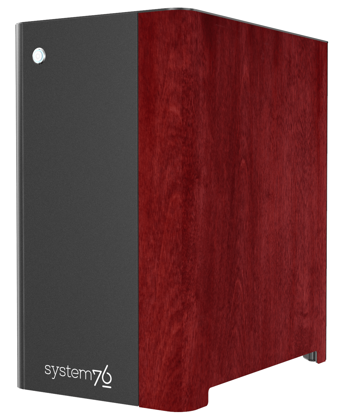 Side view of Thelio Major's Martian Red-stained birch wood veneer.