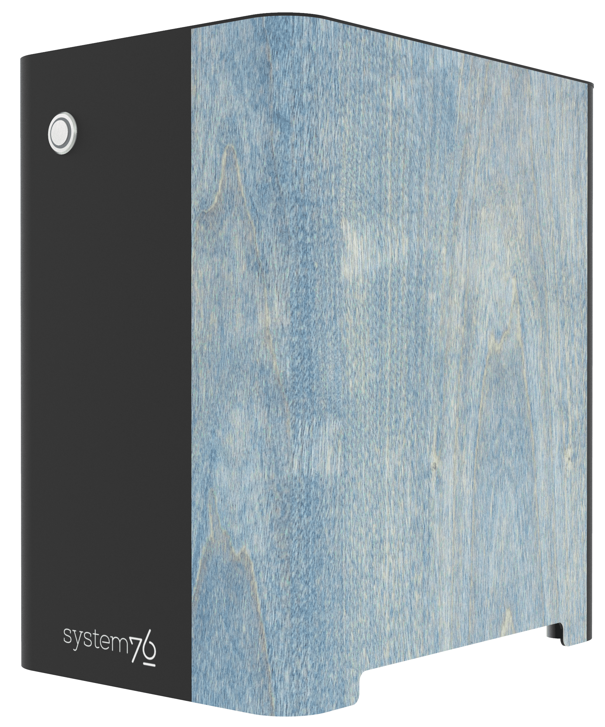 Side view of the machine showing birch veneer component, hand-polished, and stained light blue.