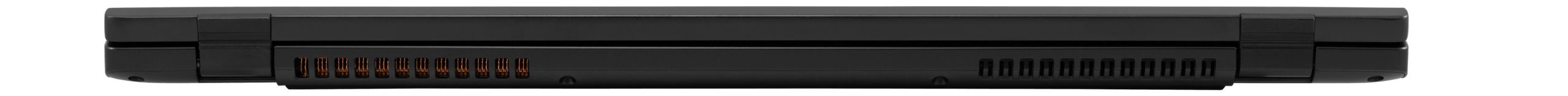 Rear view of the Darter Pro laptop folded shut, showing off the thinness of the chassis.